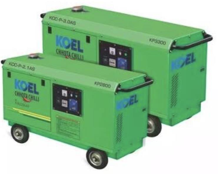 KOEL PORTABLE DIESEL GENSET  Koel portable diesel genset are powered  by high efficiency Diesel engines. It saves up to 55% of fuel cost compared to petrol generators.  KOEL CHHOTA CHILL GENSET's benefits is that is mobility and portable, so you can carry anywhere for domestic purpose such as beach side party's, in house party's and functions...