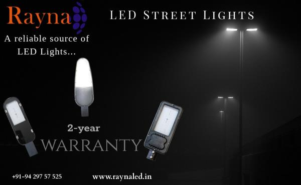 Rayna LED Street Light. (15W to 120W options available). The street light is made from Die Cast Aluminum with Powder Coated finish. It has various features like Instant ON-OFF. Perfect brightness. Low power consumption. Up to 80% Power Saver. High Quality and High Efficiency.  Non Corrosive. Rust Free Outdoor Lighting Solution. Easy Installation. Lifetime: 50, 000* hrs.  We also have other products such as LED Flood Lights, LED Surface Panel Lights, LED Highbay Lights, LED Bulbs, LED Tubelights, etc.  So if you are looking for complete LED Lightning Solutions, give us a call on +91-9429757525 or visit us at www.raynaled.in