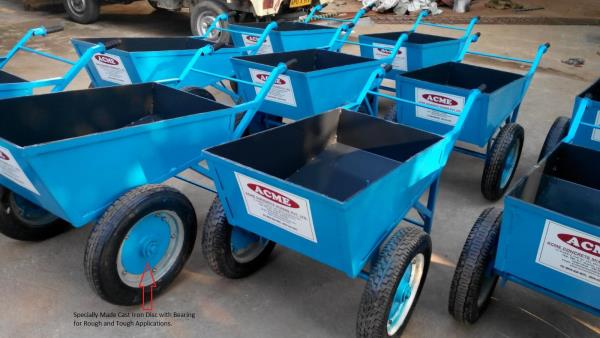 Wheel Barrow Manufacturer. We manufacture Wheel Barrow Trolleys at Hyderabad. These Trolleys are used at Construction Sites for shifting concrete, sand, cement, etc.   we manufacture Double Wheel Barrows, 4 Wheel Barrows, etc