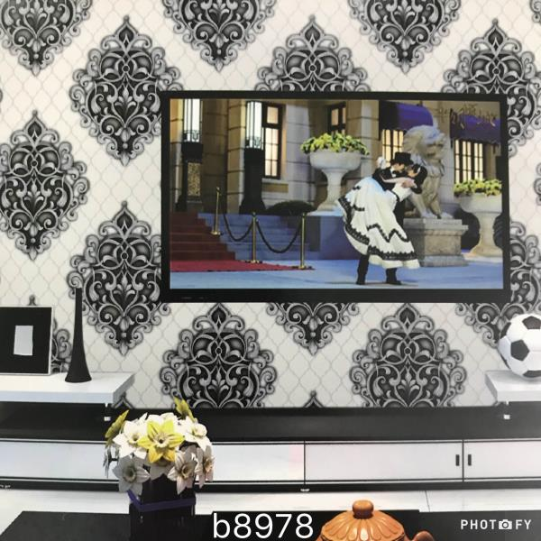 Damask wallpaper for Bed room.  Aurora2 wallpaper supplier in Delhi.  A black and white wallpaper for your Bed room area.  On earth wallpaper supplier in delhi.   To buy call us  Wallparadise- Imported wallpaper supplier in Delhi.