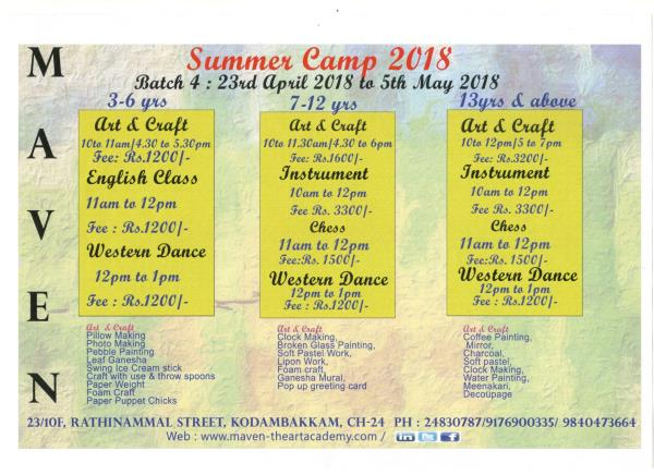 Summer Camp Classes in maven  Maven Summer Camp Next Batches starts from 23rd April 2018 to 5th May 2018.