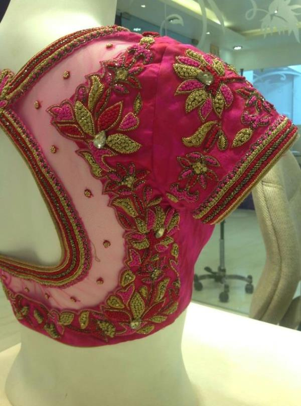 Pink Thread and HeavyWork Embroidery Bridal Blouse At Fabloon Fashion Boutique And Designer Wedding Blouse Tailoring     wedding blouse stitching embroidery blouse stitching best boutique tailors  womens tailors in chennai