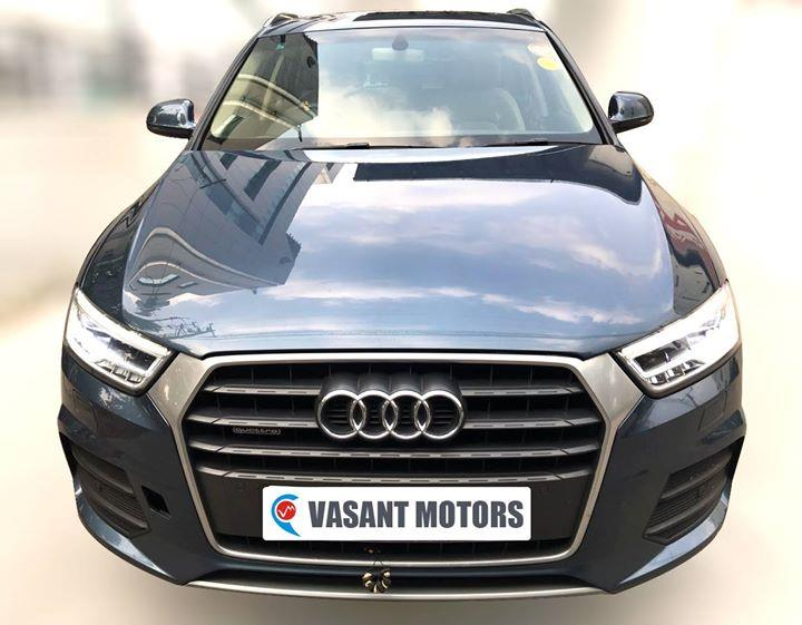 #AUDI #Q3 2.0 TDI ( BLUE COLOR, DIESEL), 2015 model done only 26, 000km in absolute mint condition... buy now and get one year #service pack from us. For further info call 7569696666. visit us @ www.vasantmotors.in