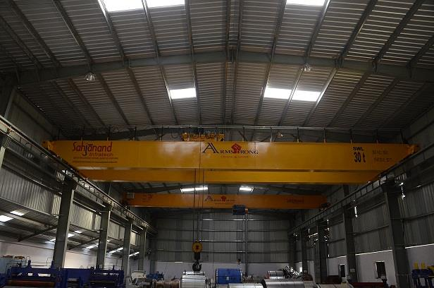 Double Girder EOT Crane.  Double Girder Crane is used for heavy material lifting. We have facility to manufacturing Double Girder EOT Crane up to 100 Ton. Here in the image we show the 30 Ton Double Girder EOT Crane.  We are the Leading Manufacturer of EOT Crane, Pre Engineered Building and PEB Structure.