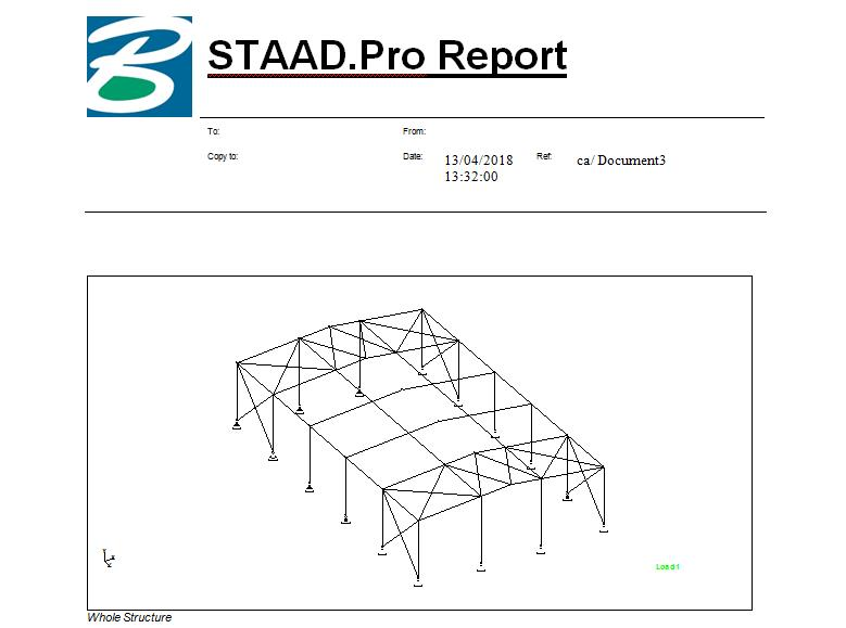 STAAD Pro Report.  We design the Pre Engineered Building in Staad Pro Software with all reaction on every point. Here in in the image we show the report.  We show the Staad pro report of Agarwal packaging at Manjusar.  We are the leading manufacturer of Pre Engineered Building and PEB Structure.
