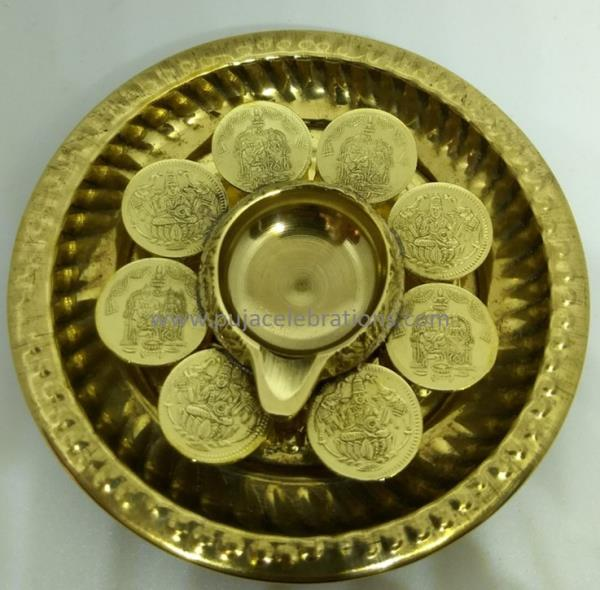 Puja Items Online Kubera Lamp With Lakshmi Kubera Coins with Plate  Size-4