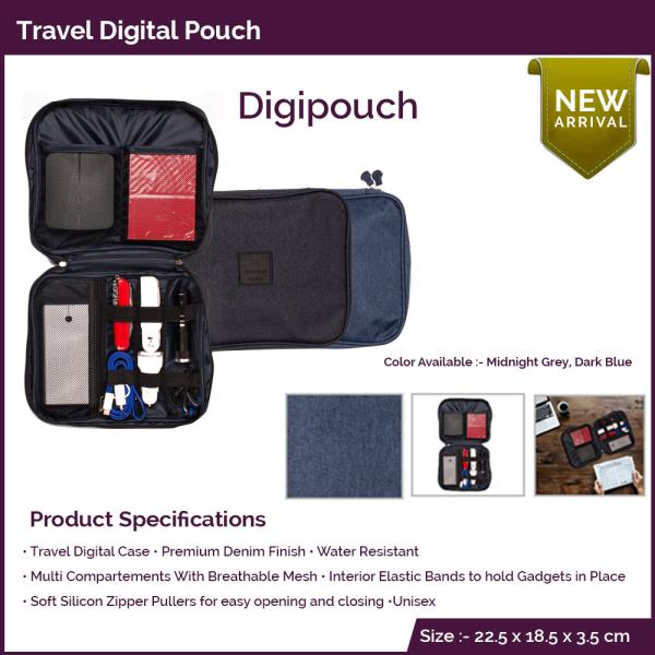 Leading Suppliers of Corporate Gifting Products In Mumbai  Stay Stylish, Stay Trendy !! Giftt Hub's Travel Digital Pouch is a unique concept bag that helps you organize your travel accessories like earphones, hard disk, power bank, multi connector, data cable, portable tool kits etc. It is a premium denim finish , water proof bag. It comes in two colours blue and black. The travel organizer has many utility pockets and soft rubber straps to keep things organized. The travel bag has ample space for branding which makes it a perfect corporate giveaway.