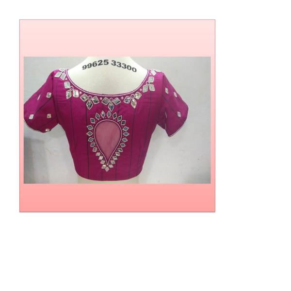 Pink Mirror and Beeds Hand Embroidery work Designer  Bridal Collections Party Wear At Fabloon Boutique And Embroidery Blouse Tailoring     Bridal blouse Embroidered blouse Silk blouse Wedding Blouse