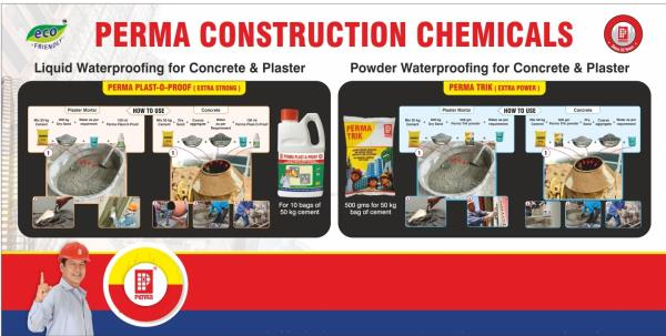 We have various Construction Chemicals to solved your problems for Wall Leakage Waterproofing , Wall Cracks Filling Material , Bathroom Leakage Waterproofing , Terrace Garden Leakage Waterproofing , Waterproofing of New Terrace, Waterproofing of Old Terrace . visit us : www.permaindia.com & www.permaindia.biz E-mail : info@permaindia.com
