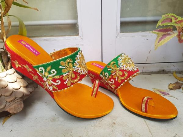 Red green yellow zardosi