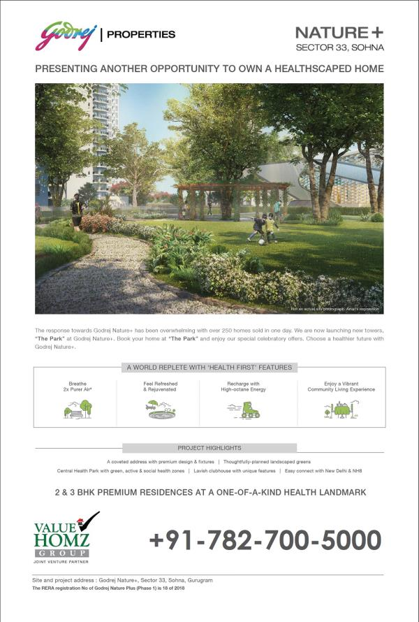 GODREJ PROPERTIES-NATURE PLUS AT SOHNA SOUTH OF GURUGRAM  GODREJ THE PARK NATURE PLUS, - SECTOR 33, SOHNA SOUTH OF GURGAON  GODREJ PROPERTIES extremely delighted to share with you the launching of new 2 & 3 Bhk Premium Residences
