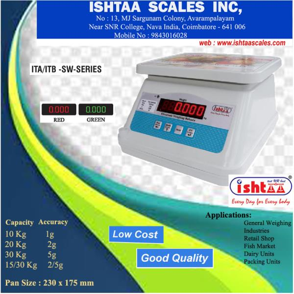 Best Waterproof Weighing Scale..- From Ishtaa Scales Ishtaa – ITA / ITB - SW / AW Series  WeighingScales, Ishtaaweighingscale, Ishtaa, WaterProof Scale, FishStallWeighingScale, Meats& cheeseweighingscale, LongBatteryBackupWeighingScale, FruitsWeighingScale, Parcelweighingscale, Retailshopweighingscale, Accurateworld,  PieceCountingWeighingScale, PortableWeighingScale, VegetableMarketWeighingScale, Coimbatore,   Click Here To Know More : https://goo.gl/Nr1Hk4  To Buy Now,  Call: 09843016028 Mail: online@ishtaascales.com