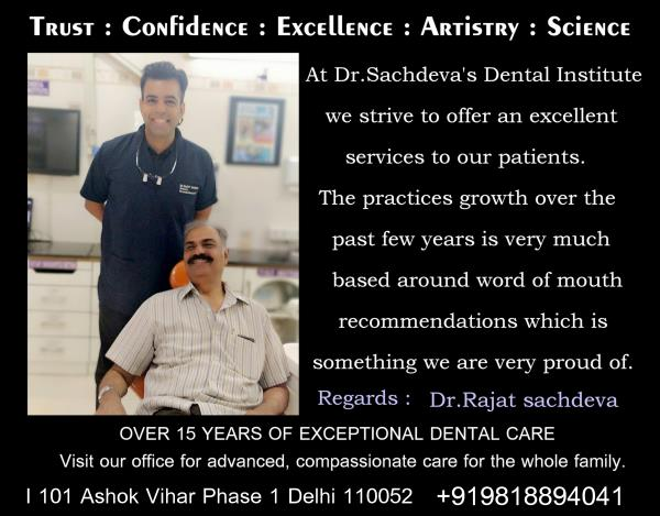 TRUST OUR DENTAL CARE AT ASHOK VIHAR FOR ALL YOUR DENTISTRY NEEDS No matter your dental needs, our team of experienced professionals can give you the care you need.  #dentistsdrrajatsachdeva #dentist #patientexperiences #weappriciateourpatients #patienttestimonial #dentalfamily #dentistry #dentalhygiene #weloveyoursmile #smiles #leadership #livelaughlove #advanceddental #dentalwork