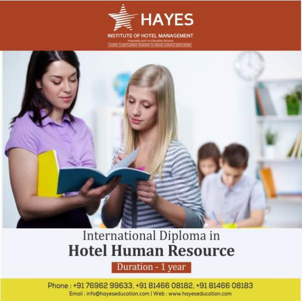 Hayes IHM Panchkula offers one year international diploma in Hotel Human Resource Management. The students are specialised and trained for Hotel HR department . You have to be graduate in any stream to do this course . Placements are assured.
