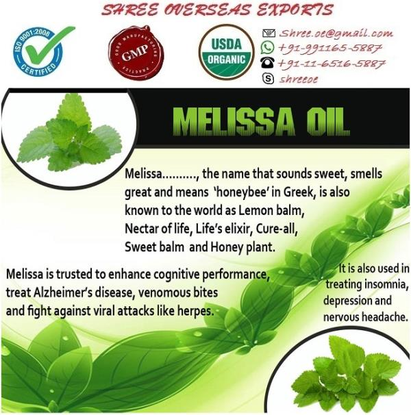 Manufacturer and Exporter of Lemon Melissa oil in London, United Kingdom | Shree Overseas Exports Lemon melissa oil has aroma of fresh lemony and herbaceous scent. It's color is Pale yellow and very well extracted by steam distillation of leaves and flowers. Shree Overseas exports is famous for manufacturing pure and natural Lemon melissa oil in London, United Kingdom.