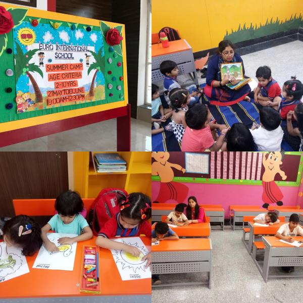 Summers are not just about sweltering heat, it is time to mix learning with lots of fun. Euro International School Sector -109, organised exciting Summer Camp from 21st May to 8th june 2018. This unique 3 week programme has been conceptualised to provide children with an opportunity to engage in different areas of interests and rediscover the joy of learning.  Different Activities will be organized in this Summer Camp  which include art & crafts, sports, dance, music, personality development, calligraphy, pottery, organic farming and many more. Today is the 1st day of summer camp, here students performed story telling with props activity that allow students to express themselves freely & creatively in an real way. Practice in Art & Craft activity that helps in developing children confidence with their own drawing projects.