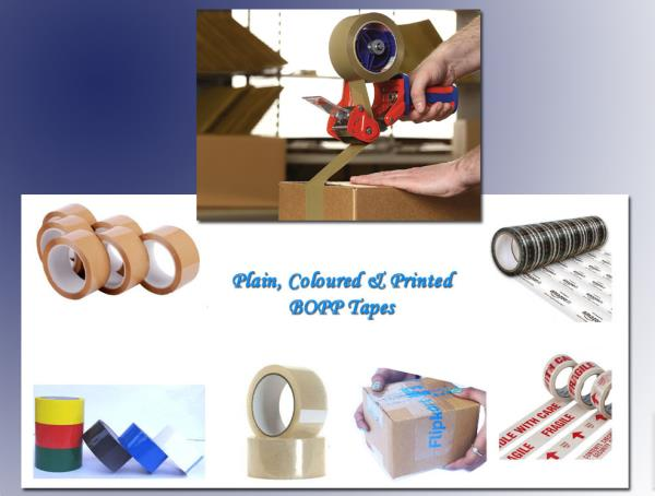 Searching for high performance Adhesive Tapes, which can protect your packaging from tamper & deliver them securely..... then your search ends here at Arihant Packaging.....   We can provide packaging and sealing solution for both domestic and industrial needs...   You can select from our wide range of Bopp tapes in Plain, Pre Printed with Fragile or Handle with care or Custom printed in a variety of colours, thickness, roll lengths and roll widths, which are strong, have superb adhesion and can withstand extremes of temperature and pressure...  They have been designed to provide complete protection to packages during transit and handling...  They are ideal for use in automatic packing machines also.  Adhesive Tapes, Bopp Tapes, Bopp Color Tapes.... Manufacturer & Supplier Arihant Packaging from Jaipur, Rajasthan India....