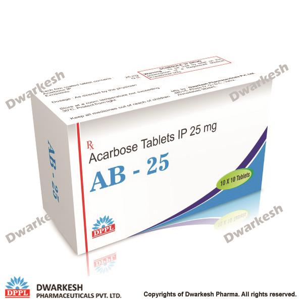 Dwarkesh Pharma is manufacturing of Acarbose Tablets in India in India.