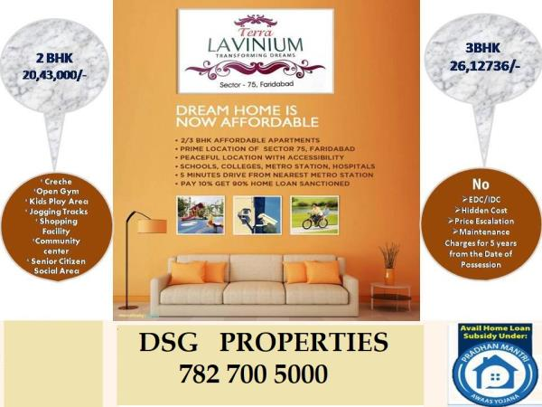 BOOKING OPEN TERRA LAVINIUM  SECTOR - 75 ,  FARIDABAD.  2 BHK - 20.40* Lcs  and  3 bhk @ 26.10* Lcs  CALL FOR BOOKING  - 7827005000