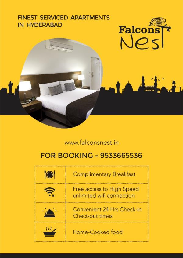 Visiting Hyderabad on Software Project Assignments or Looking for Fully Furnished Long Term / Short Term Serviced Apartments.We offer 1/2/3 Bed Room Serviced Apartments with Private Kitchen. Located close to the Outer Ring Road, Falcons Nest- Gachibowli is close to the Rajiv Gandhi International Airport. Ideal location for business travellers, the apartment is located right in the heart of the financial district which is home to most of the major players in the Software industry.Please call +919440022129 or email info@falconsnest.in