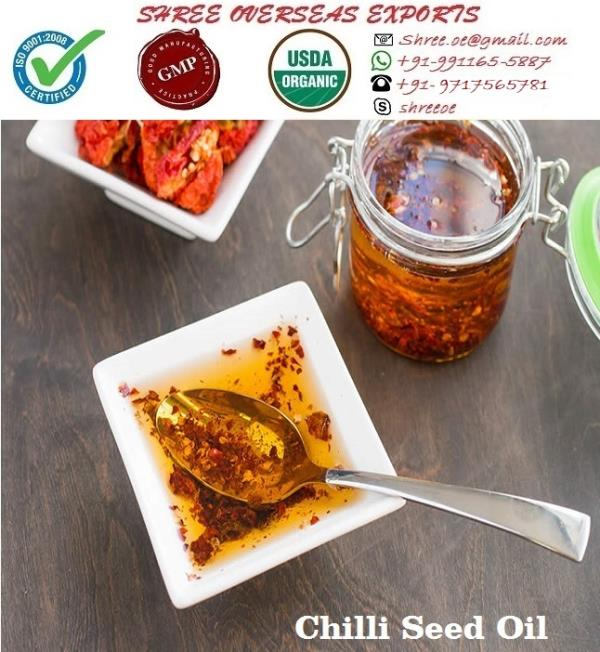 Exporter and Manufacturer of Chilli seed oil in Kent, United Kingdom | Shree Overseas Exports Chilli used for Chilli seed oil is hot pungent variety of Capsicum. It is very safe and effective that's why it is used in variety of medicine and medical services.  It is very beneficial for curing diabetes. Chilli seed oil is very well oil you can use it with Carrier oil. Shree Overseas Exports is Exporting best quality chilli seed oil in Kent, United Kingdom.