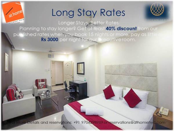 📣 ⚡ ⚡Planning to stay longer? Get at least 40% discount from our published rates when you book 15 nights or more, pay as little as Rs 3000 per night for our Executive room.  📣 ⚡ ⚡<br/> 📣 ⚡ ⚡Enjoy More Savings when you book early 📣 ⚡ ⚡<br/>Make sure you don't miss it.  ❤️<br/>