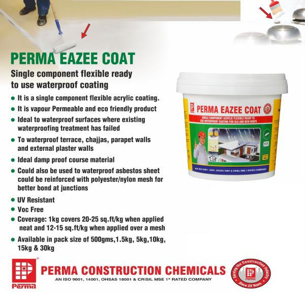 We are leading Waterproofing Products Supplier for Waterproofing Solutions for Terraces & Waterproofing Solutions for Terraces Roofs in India. If you required PERMA WATERPROOFING PRODUCTS for Waterproofing Construction Work you can send us an inquiry through our website. All products are available on our website www.permaindia.biz . You can contact us on info@permaindia.com