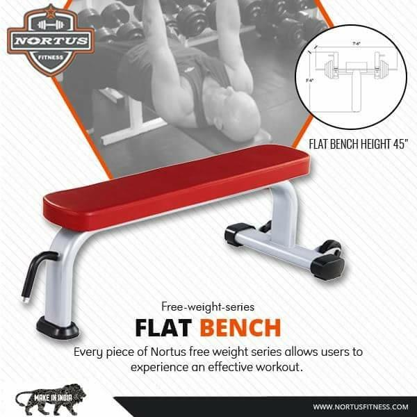 Flat bench from nortus fitness. We are the leading manufacturer of gym equipments in india. We provide you complete range of all fitness equipments in india. We are the manufacturer of fitness equipments in meerut, jalandhar, mumbai.