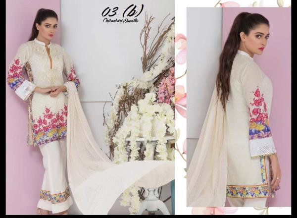 SUBATA Designer Chikankari collection 2018   Embroidered Digital Printed Lawn Suits by ZS Textiles (Regalia Textiles)  23 Pieces Set 11 Designs 2 Colours 1 Design 1 Colour  3 Designs 2 Colours  Chikankari Dupatta  1 Design 2 Colours EMB Net Dupatta  2 Designs 2 Colours Printed Lawn Dupatta  5 Designs 2 Colours 1 Design 1 Colour Printed Chiffon Dupatta BOOKINGS OPEN!! Delivery on Thursday ....