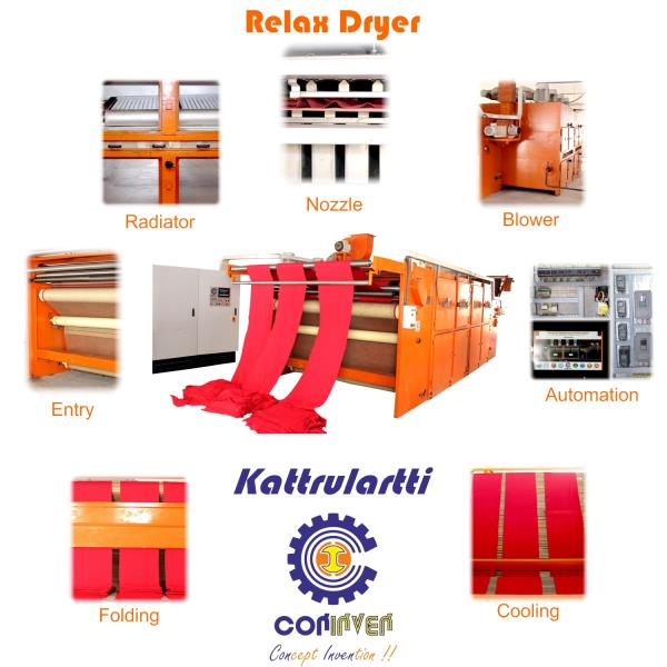 Relax Dryer Our Tubular Relax Dryers are designed for tension less shrink and relax drying of knitted fabrics in a wide variety of versions.  KAT M1 is single pass relax dryer designed for shrinkage controlled relax drying of tubular knitted fabric where as the KAT M2 is multi-pass edition.  We are also Manufacturer of  Tubular Compacting machine  Tubular padding machine  Open width padding machine  Slitting Machine  Open width compacting machine  Pin Frame Dryer