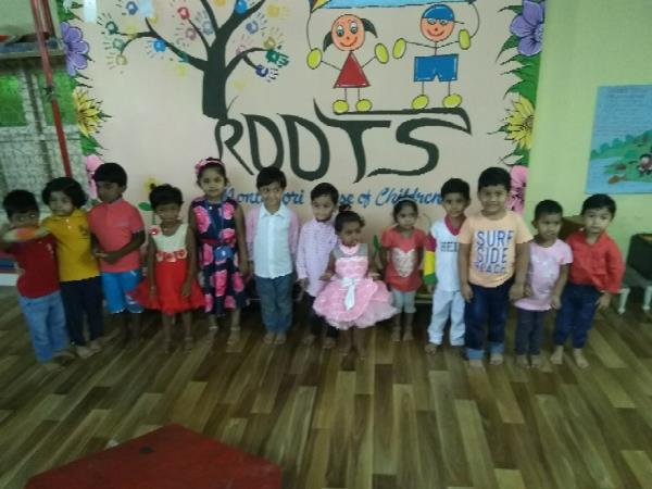 1st celebration Telangana Day celebration at Fresh Roots Montessori House, where children dressed in Pink,  were taught about state colour, dance, bird, animal, fruit and flag.  They also learned about CM.