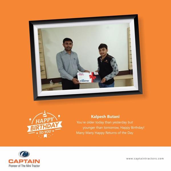 Captain Family wishes Kalpesh Butani a very Happy Birthday...  Many Many Happy Returns of the Day...  #captaintractors#wishesbirthday