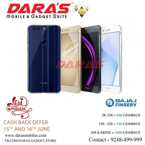 Honor mobiles cashback offer only 15th & 16th june at DARAS