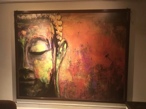 pers from Thinkwalls!3D Buddha Wallpaper installed at a client location in Hyderabad.Living room wallpapers,  3d wallpaper,  lord buddha wallpapers, office branding, board room wallpapers
