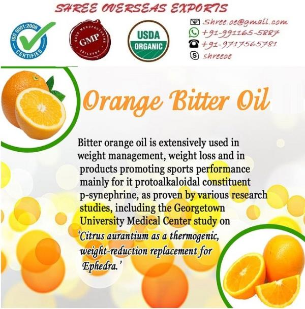 Manufacturer and Exporter of Bitter Orange Oil in London, United Kingdom | Shree Overseas Exports Bitter orange oil is best oil in flavors industry. oranges oil are used primarily for marmalade in South Africa. The juice is valued for ade and as a flavoring on fish and in Spain, on meat during cooking.  This oil are largely exported to England and Scotland for making marmalade. Shree Overseas is manufacturing best quality Bitter Orange oil in London, United Kingdom. With no MOQ (Minimum Order quantity).
