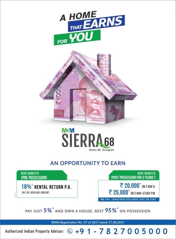 M3M Sierra Sector 68 Gurgaon M3M INDIA PVT. LTD., GET 18% ASSURED RETURNS, GET RENT UPTO 25000 AFTER POSESSION Pay Just 5% & Enjoy Exciting Rental Returns. Possession In 2020*  About M3M Sierra • It is an innovative, unique and unparalleled project so that you can enjoy luxury in an all new avatar. • It has 2BHK and 2BHK+Study apartments on offer, and these are infused with ultra modern features and the lake in the resenditial premises will make your home your favourite hangout spot. • All-encompassing security arrangements like security cameras, guards, panic alarms, fire fighting systems and Earthquake Resistant Buildings will make you feel safe and secure. Central location and good connectivity to all major spots make M3M Sierra, the most seeked property in town. Go and book your flat today for just 5 lacs! • It will have 6 units per core, 2.5 Acres Lazy River, 90% open space. Panoramic view of Aravalli hills. View of luxury villas and green spaces in the immediate neighbourhood.  USP of the project • Situated on 30 metre wide sector road. • Just 30 minutes drive from Delhi International Airport. • The site is prominently located just off Sohna road and has easy access from Southern Peripheral Road & NH-8. • Located near Metro corridor, offering fast, convenient and comfortable connectivity.  DEALS IN GURGAON, M3M GURGAON, DEALERS IN GURGAON, M3M BEST DEALS, M3M RESIDENTIALS IN GURGAON