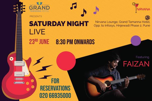 Groove to the music with Faizan, Inhouse Projekts @ Grand Tamanna! Get ready this Saturday for some ROCKING performances from the popular band!  Venue: Nirvana Lounge Bar from 8.30 PM Onwards! Seat Reservations Call: 020 66935000 | Visit Us @ www.grand.tamannahotels.com Enquire: grand@tamannahotels.com #liveperformances #livebands #musicfun #shakeup #musicalnights #nirvana #weekendspecials