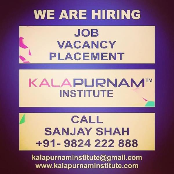 WE ARE HIRING ( KALAPURNAM INSTITUTE ) ------------------- Vacancy. Placement. Job. All openings for our own institute requirement. ------------- White collar job profile. Regular office timing. Office based job. No outside field job. --------------- Vacancy for Ahmedabad / Vallabh Vidhyanagar ( Anand ) / Mehsana / Vadodara / Ajmer City. -------------- Job Post :  01. Counsellor ( Female Only ) 02. Back Office Assistant 03. Faculty - for teaching 04. Creative Content Writer 05. Tele Caller 06. Receptionist 07. Hardware Software Network technician 08. IT Engineer 09. Graphic Designer cum Video editor 10. Branch Manager 11. Tele Marketer  12. Social Media Digital Online Marketing Expert 13. Field Marketing Person ( Male only , Only field job ) 14. Office Boy Peon -------------- Eligibility criteria for all above mentioned jobs.  1.  Male female both candidate 2. Age : 18 to 55  years. 3. 0 - 30 years experience of the same profile. ------------- Call / WhatsApp / Telegram : Sanjay Shah 09824222888 / 08320696941  Landline : 079 - 40047838  Mail your resume to  kalapurnaminstitute@gmail.com ------------------ Training Institute for  Visual Effects ( Vfx ) / 2d-3d Animation / Graphic / Web / Multimedia / Gaming / Digital Photography / Videography / Video Editing / Compositing / Fine Arts / Fashion - Interior - Architecture Design courses. ----------------- Head Office & Main Branch :  Kalapurnam Institute. 205, 2nd floor, Kalapurnam Building, Above Citi Bank, Near Municipal Market,  C. G. Road, Navrangpura, Ahmedabad, Gujarat. Pin - 380009. -------------- Website : www.kalapurnaminstitute.com www.kivaindia.com ---------------- Mobile App - KALAPURNAM INSTITUTE ------------- Social Media Presence - Facebook, Instagram, Twitter, WhatsApp, Telegram, GooglePlus,  YouTube, LinkedIn, Skype, Blogspot, Pinterest, Swarm, Flickr, Tumblr.  ------------------  Please forward / share / like it maximum in your group / account.