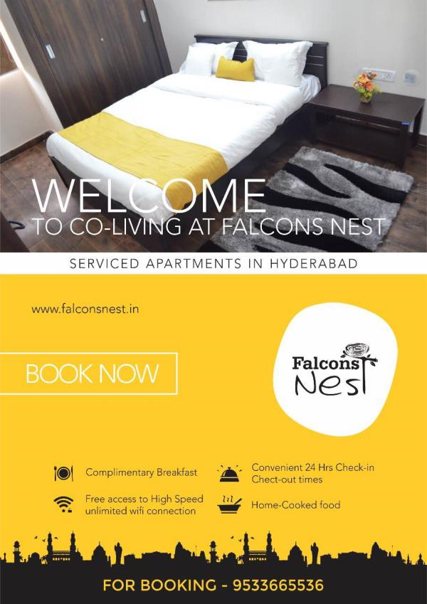 Falcons Nest Serviced apartments are suitable for every individual and every occasion- whether on a short visit, a few months or even year-long stays. We've got the perfect apartment for you at Gachibowli & Financial District!Please visit www.falconsnest.in To reserve +919440022129