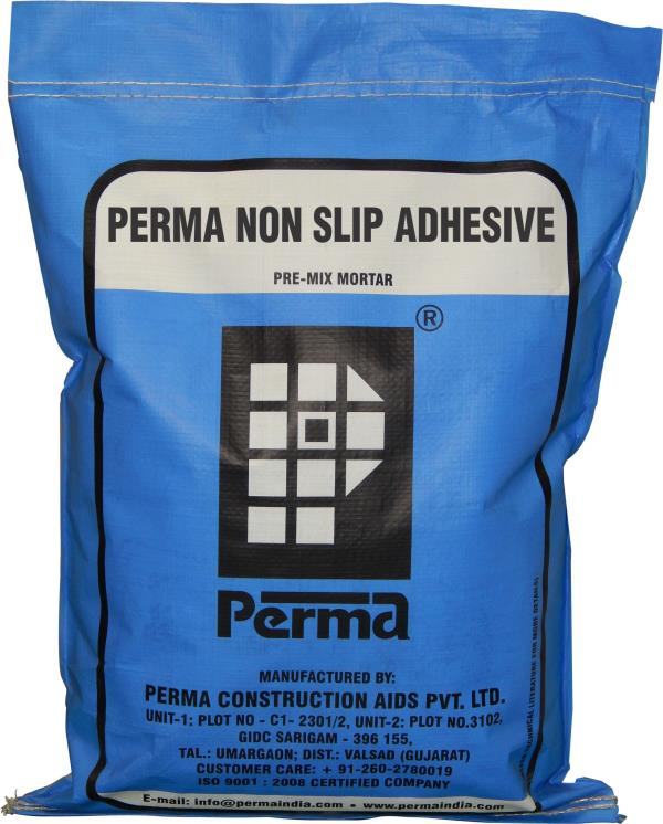 We are manufacturer of Ceramic Tile Mortar which is highly demanded products in India. Ceramic Tile Adhesives , Ceramic Tiles Mortar is used for fixing Ceramic Tiles. Perma Non Slip Adhesive is mainly used for fixing glazed, ceramic, terracotta tiles, vitreous tiles, marble and granite tiles on existing mosaic or ceramic floor tiles without removing them or hacking them. Perma Non Slip Adhesive is also used for tiling on difficult vertical cementitious surfaces and in cases where the weight of the tile is more than the normal ones. Perma Non Slip Adhesive is a cementitious polymer based material in powder form, which only needs on site addition of water to make a paste which is used for fixing tiles over existing mosaic tiles without removing them. Perma Non Slip Adhesive is also used for fixing tiles on difficult surfaces. We can supply Chemicals for construction. If you required PERMA TILE FIXING PRODUCTS for construction you can send us an inquiry through our website. All products are available on our website www.permaindia.biz . You can contact us on info@permaindia.com