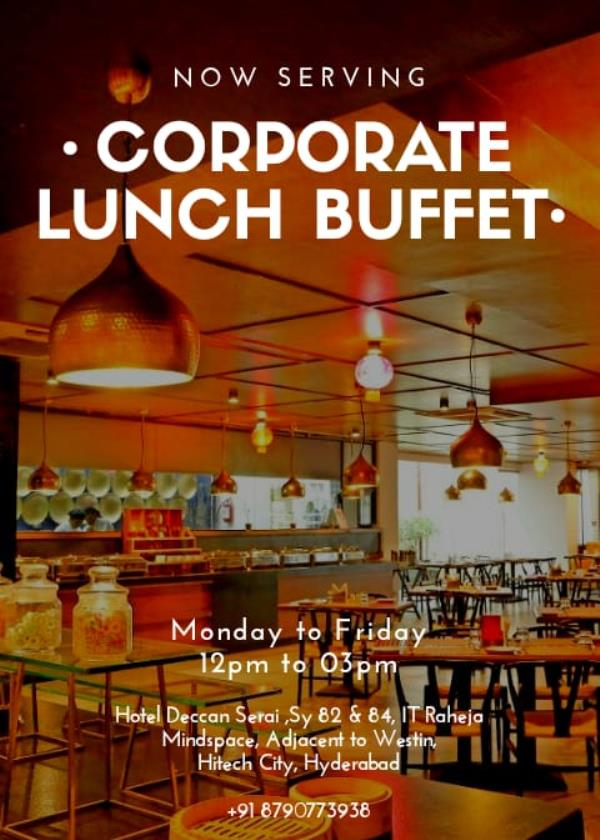 Loosen up your ties and make the most of the scrumptious Corporate Lunch Buffet , Monday - friday 12pm-3pmfor reservations +91 8790773938