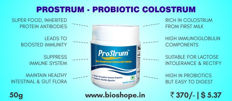 Prostrum is rich in colostrum, obtained from first milk of bovine and has high immunoglobulin components which lead to boosted immunity. Suitable for lactose intolerance and proven even to rectify the same. High in probiotics hence it's eas - by Natural Wellness Inc., Chennai