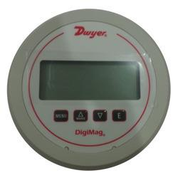 Dwyer Digi Mag Digital Differential Pressure Gauge Dwyer Digital Differential Pressure and Flow Gages with 1% accuracy of full scale and fits in Magnehelic Gage cut out. It monitors the pressure of air and compatible gases just as Magnehelic Gage does. 4-digit LCD display Features: Field programmed reduces installation time User selectable parameter for pressure, air velocity or flow permits same device for multiple applications. Specialized filter set points for alerts when maintenance is due. Applications: Filter monitoring Air Velocity or flow Blower vacuum monitoring Fan pressure indication Duct, room or building pressures Clean room positive pressure indication
