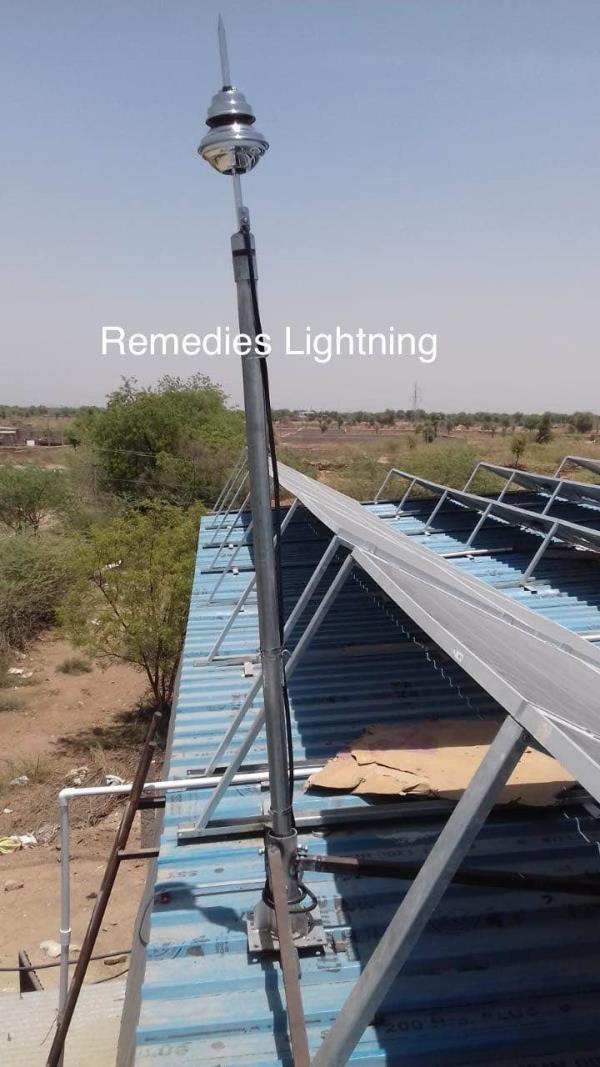 Solar Lightning Protection Systems Product  :    ESE Lightning Protection Systems Standard:    NFC standard Make : REMEDIES KALRE Model : ALR 60 Protection Radius : 79 meter At Level 1Warranty : 30 Years Projects Done by Remedies