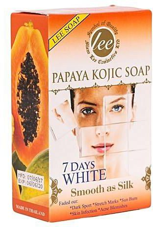 Kojic Papaya Soap 7days white   Kojic Papaya Soap 7days white. is very powerful when it comes to skin lightening and removing dark spots. However, most people don't realize that it's not just for skin lightening soap or a dark spot remover. There are way more skin conditions or problems that Papaya Kojic can treat. Below are some of the most common skin problems that can be treated:  Acne or pimples Sun spots Freckles Body acne Psoriasis Skin blisters Rashes Eczema Scars Hyper pigmentation Keratosis Pilaris Quick Tips on How To Use and Apply Royale Kojic Papaya Soap To Your face and skin. For sensitive skin, apply product to your skin not more than 3 minutes. For moderately sensitive skin, apply product to your skin for about 3-5 minutes. For those darker skin, apply product to your skin for about for 5-10 minutes. For the face, always lather it with enough water before applying it. Your facial skin is one of the most sensitive part of your body; so use it with caution if your going to try this product for the first time. And don't forget to also add your neck when you are washing with your face to even to the skin color. For darker scars, stretch marks, sun burned skin: focus on that area for 5 minutes 2-3 times a day. Apply moisturizers like lotion to prevent drying of skin. If you are using Kojic acid for a period of time and shift to other products, give your skin some time to adjust to avoid chemical reaction from the present one 130 grms.