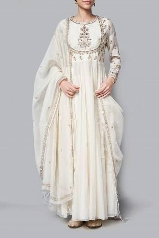 Boutique Pastel the Handcrafted Designer Panisha Product off white Gown cum Anarkali suit with pure fine georgette dupatta all over handwork border with small pure zardozzi buttis into it spreading equally  all over the dupatta .peti the upper part of the gown cum anarkali heavy handwork over the top and also full sleeves with handcrafted work all over the sleeves . special offer - bid a correct price on the product and get flat 50% off