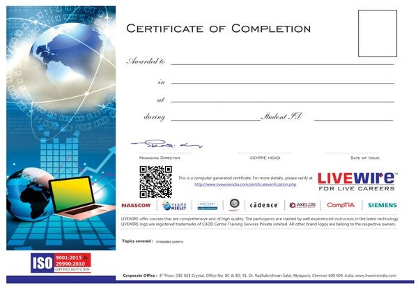 LIVEWIRE Certificate courses in CADD Centre Dharampeth Nagpur.  Certificate Format For more information visit at our Office Laxmi Bhavan Square  , Dharampeth, Nagpur
