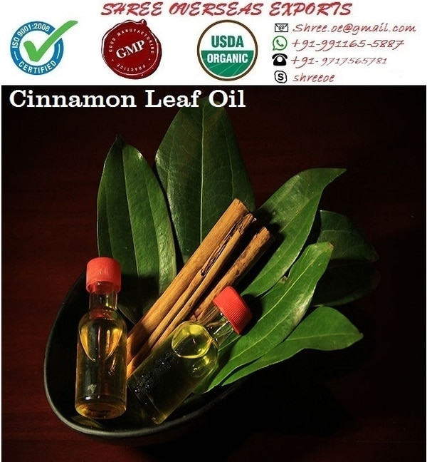 Manufacturer and Exporter of Cinnamon leaf oil in London, United Kingdom | Shree Overseas Exports Cinnamon leaf oil is an essential oil. Cinnamon leaf oil is an anti-depressant and reduces drowsiness, irritability, pain and frequency of headaches. Just because now our earth is very polluted that's why It can be used in diffusers for purify the air. Shree Overseas Exports is Manufacturing best quality Cinnamon leaf oil in London, United Kingdom. You can also order samples.