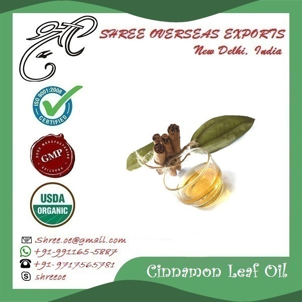 Cinnamon Leaf Oil's Exporter and Manufacturer in Bermingham, United Kingdom  | Shree Overseas Exports Cinnamon Leaf oil is extracted by steam distillation method. It is extracted from Cinnamon tree. Plant part used is Leaf. Color of Cinnamon leaf oil is yellow. Cinnamon oil have smell or odor like spicy. Consistency of Cinnamon leaf oil is thin. Shree Overseas Exports is Exporting and Manufacturing best quality Cinnamon leaf oil in Bermingham, United Kingdom.