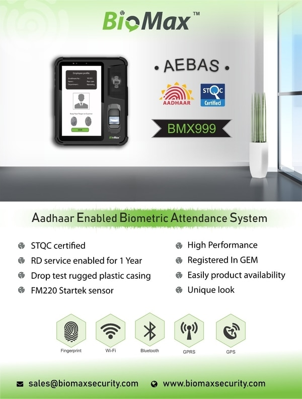 Biomax BMX999 Aadhaar Attendance Machine is available for sale now. CALL Goldline Security Systems for best offers on Mantra Aadhaar Biometric Attendance Machine and Realtime Aadhaar Biometeic T502, RS405. You can get all the available aadhar attendance machine brands under one shed with best prices.  Fresh stick is available for dealers and suppliers.  Delivery Location in India: Jammu, Kargil Srinagar, Chandigarh, Ludhiana, Jalandhar, Patiala, Moga, Amritsar, Mandi, Firozpur etc.  Others States where we provide material: Haryana, Delhi, Uttar Pradesh, Andhra Pradesh, Rajasthan, Tamilnadu, Kerala, Assam, Tripura, Manipur, Bihar, Orissa, West Bengal, Gujrat, Maharashtra, Madhya Pradesh, Jharkhand, Uttranchal and GOA etc.  Call 01141011664